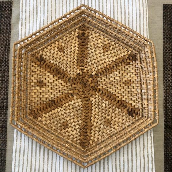 Bohemian Vintage Raffia Hexagonal Basket Decor